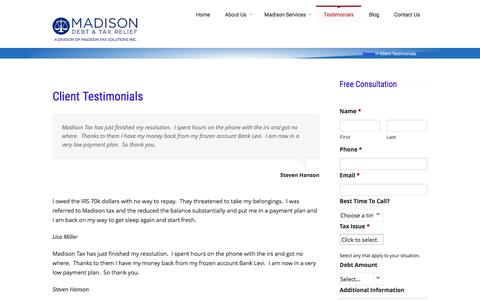 Screenshot of Testimonials Page madisondebtandtaxrelief.com - Client Testimonials - Madison Debt & Tax Relief - captured May 10, 2017