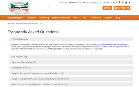 Screenshot of FAQ Page milorganite.com - FAQ - captured Nov. 8, 2017