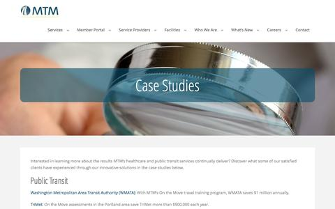 Screenshot of Case Studies Page mtm-inc.net - Healthcare Case Studies - Public Transit Case Studies - captured May 27, 2017
