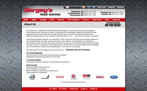 Screenshot of About Page bergeystruckcenters.com - Bergey's Truck Center: About Us - captured Sept. 30, 2014