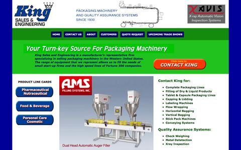 Screenshot of Home Page kingpac.com - King Sales&Engineering - World class manufacturer's representative of innovative packaging machinery and quality assurance systems serving the Pharmaceutical, Medical Device, Personal Care, Food and Beverage industries in the western United States - captured Oct. 6, 2014