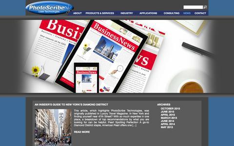 Screenshot of Press Page photoscribetech.com - Photoscribe|News - Photoscribe - captured Feb. 8, 2016