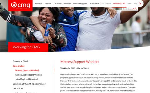 Screenshot of Case Studies Page cmg.co.uk - Working for CMG - Marcos - Support Worker - Care Management Group - captured Sept. 27, 2018