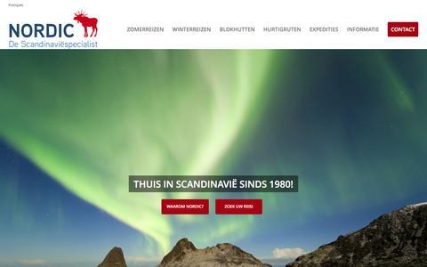 Screenshot of Home Page nordic.be - NORDIC: Noorwegen, IJsland, Lapland, Hurtigruten en Zweden - captured Feb. 17, 2016