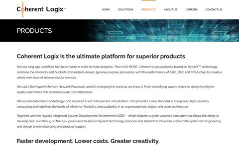 Screenshot of Products Page coherentlogix.com - PRODUCTS • Coherent Logix - captured Sept. 28, 2018