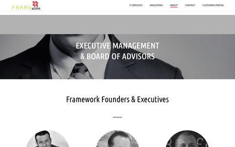Screenshot of Team Page frameworkcommunications.com - Executive Management/Board of Directors - captured Jan. 8, 2017