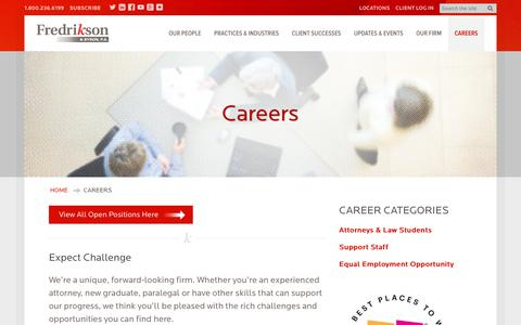 Screenshot of Jobs Page fredlaw.com - Careers · Fredrikson & Byron, P.A. - captured Oct. 14, 2017