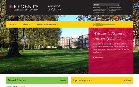 Screenshot of Home Page regents.ac.uk - Regent's University London - captured Sept. 19, 2014