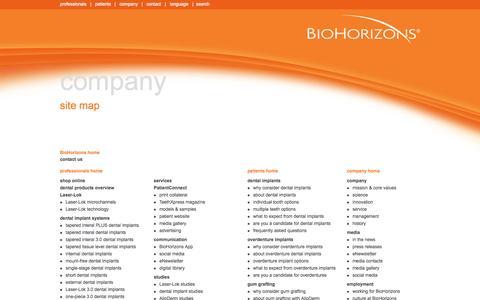 Screenshot of Site Map Page biohorizons.com - site map | BioHorizons - captured Sept. 13, 2014
