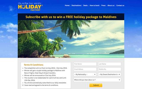 Screenshot of Signup Page holiday-factory.com - Holiday Factory ! Win a free couple holiday package to Maldives - captured July 15, 2016