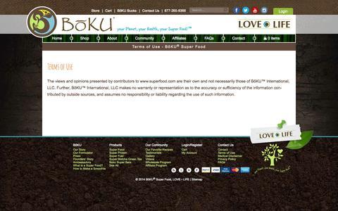Screenshot of Terms Page bokulovelife.com - Terms of Use - Boku Super Food - captured Oct. 5, 2014