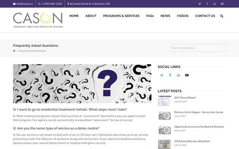 Screenshot of FAQ Page cason.ca - Frequently Asked Questions – CASON | Community Addiction Services of Niagara - captured Aug. 8, 2017