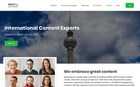 Screenshot of About Page greatcontent.com - greatcontent – Meet the Team - captured Sept. 23, 2018