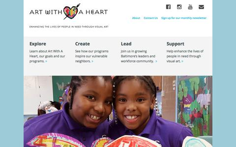 Screenshot of Home Page artwithaheart.net - Art With a Heart – Enhancing the lives of people in need through visual art - captured July 30, 2018