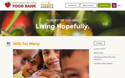 Screenshot of Blog chattfoodbank.org - Our Blog - Chattanooga Area Food Bank - captured Nov. 14, 2015