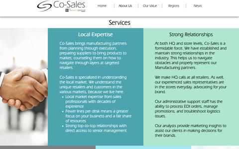 Screenshot of Services Page co-sales.com - Services   Co-Sales - captured Sept. 28, 2018
