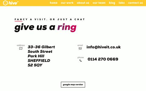 Screenshot of Contact Page hiveit.co.uk - Contact Us | Hive IT ltd - captured Sept. 29, 2018