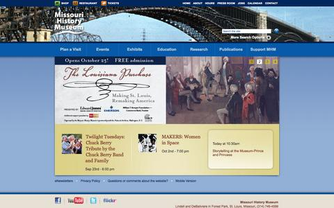 Screenshot of Home Page mohistory.org - Missouri History Museum - captured Sept. 19, 2014