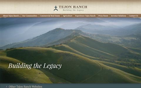 Screenshot of Home Page tejonranch.com - Home - Tejon Ranch - captured Feb. 17, 2016