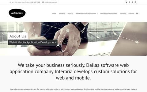 Screenshot of About Page interaria.com - Dallas Web Application and Mobile App Agency - About Us - captured Jan. 9, 2016