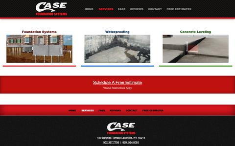 Screenshot of Services Page casefoundations.com - Services - Case Foundations Louisville - captured Sept. 27, 2018