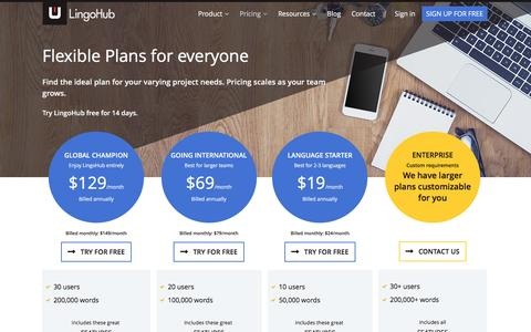 Screenshot of Pricing Page lingohub.com - Plans and Prices - LingoHub - Easy web and mobile localization - captured Jan. 14, 2016