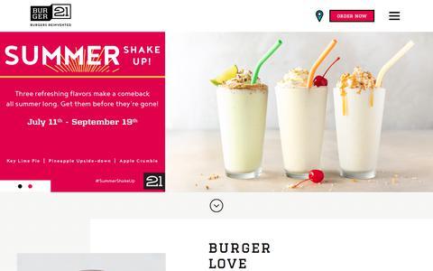 Screenshot of Home Page burger21.com - Home | Burger 21 - captured Aug. 4, 2018