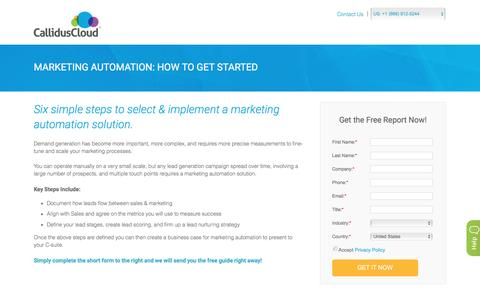 Screenshot of Landing Page calliduscloud.com - Marketing Automation - How to Get Started | Marketing Solutions | CallidusCloud - captured Aug. 20, 2016