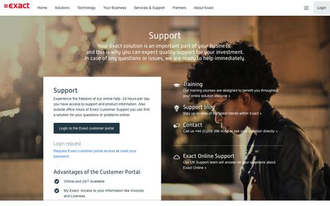 Screenshot of Support Page exact.com - Support and technical assistance for Exact software - captured Oct. 19, 2018