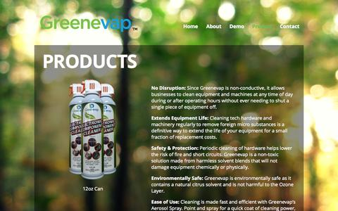 Screenshot of Products Page greenevap.com - Products | Greenevap - captured Oct. 3, 2014
