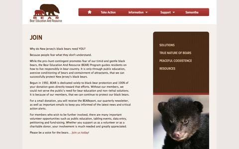 Screenshot of Signup Page savenjbears.com - Join New Jersey BEAR Program - captured June 19, 2016