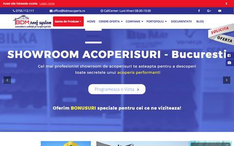 Screenshot of Home Page acoperisuri.info - BDM ROOF SYSTEM - Distribuim tigla metalica Bilka, Budmat, Decra - captured Oct. 9, 2017