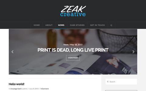 Screenshot of Press Page zeak.com.au - News   ZEAK - captured Feb. 26, 2016