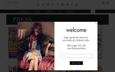 Screenshot of Press Page sanctuaryclothing.com - Press - captured July 22, 2016