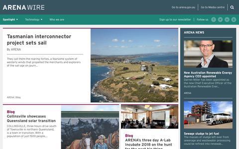Screenshot of Blog arena.gov.au - ARENA WIRE - Australian Renewable Energy Agency - captured Sept. 23, 2018
