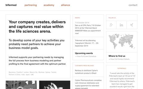 Screenshot of Home Page trifermed.com - Trifermed - captured Oct. 9, 2014