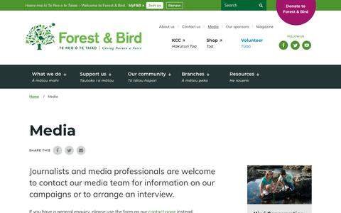 Screenshot of Press Page forestandbird.org.nz - Media | Forest and Bird - captured Oct. 30, 2018
