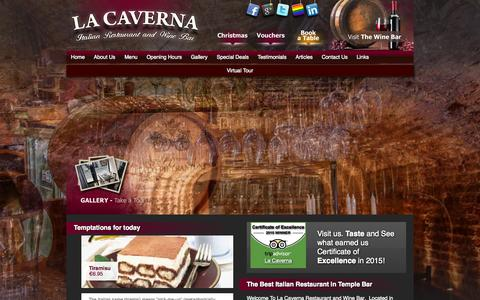 Screenshot of Home Page lacaverna.info - Italian Restaurant Dublin. LaCaverna Probably the best in Temple Bar Italian style Restaurant and Pizzeria - captured Oct. 7, 2015