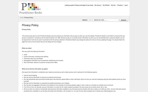 Screenshot of Privacy Page practitionerbooks.com - Privacy Policy - captured Oct. 2, 2014