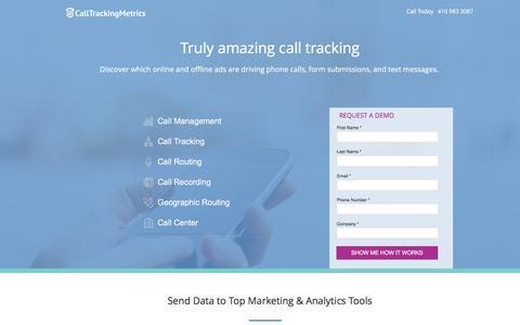 Screenshot of Landing Page calltrackingmetrics.com - Call Management Software - captured May 13, 2017