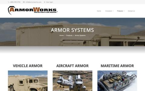 Screenshot of Products Page armorworks.com - Armor Systems | ArmorWorks - captured Nov. 21, 2016