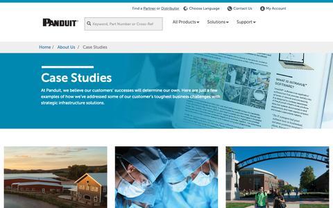 Screenshot of Case Studies Page panduit.com - Panduit   Case Studies - captured Feb. 12, 2019