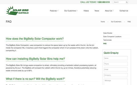 Screenshot of FAQ Page solarbins.com.au - FAQ - Solar Bins Australia - captured Dec. 16, 2016