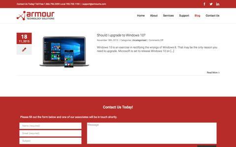 Screenshot of Blog armourts.com - Blog – Armour Technology Solutions - captured Feb. 6, 2016
