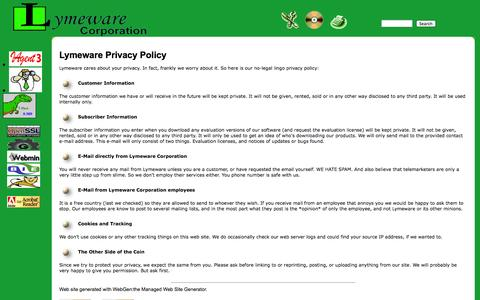 Screenshot of Privacy Page lymeware.com - Lymeware Privacy Policy - captured Oct. 3, 2014