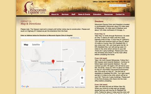 Screenshot of Maps & Directions Page wisconsinequineclinic.com - Get a Map and Directions to visit Wisconsin Equine Clinic & Hospital - captured Oct. 19, 2018