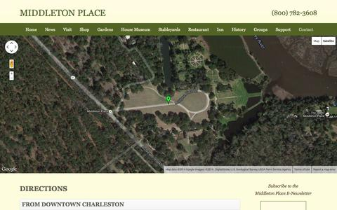 Screenshot of Maps & Directions Page middletonplace.org - Directions to Middleton Place - captured Oct. 27, 2014