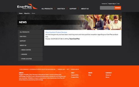 Screenshot of Press Page goenerplex.com - Enerplex - News - captured Sept. 19, 2014
