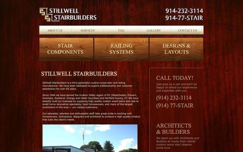 Screenshot of About Page stillwellstairs.com - Stillwell Stairbuilders - Custom Wood Stairs - Westchester, Putnam, Dutchess, Fairfield, Rockland, Orange - captured Oct. 4, 2014
