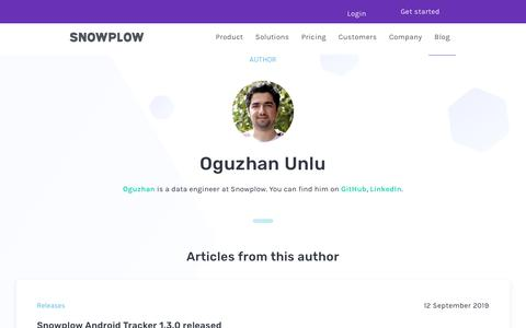 Screenshot of Blog snowplowanalytics.com - Blog – Oguzhan Unlu - captured Feb. 10, 2020